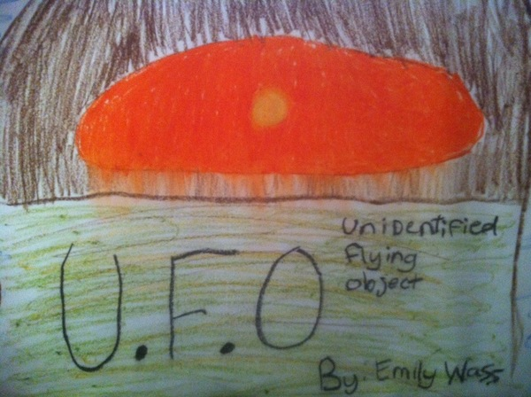 Emily Wass's Drawing of UFO Over House