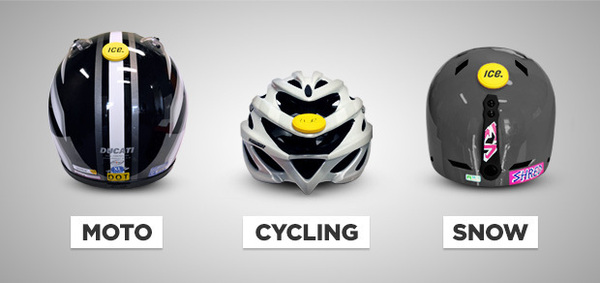 The sensor mounts onto any helmet as an aftermarket device.