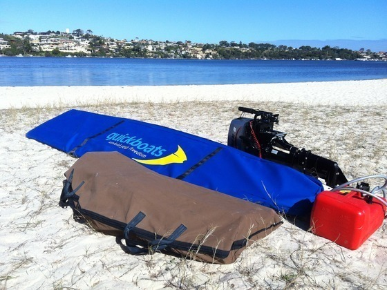 The 10.8' Quickboat can be stored in two bags that will weigh under 88lbs/40kgs together (even less than the current boat design you see in the main video above), making it easy to store and transport anywhere.  (Motor not included)