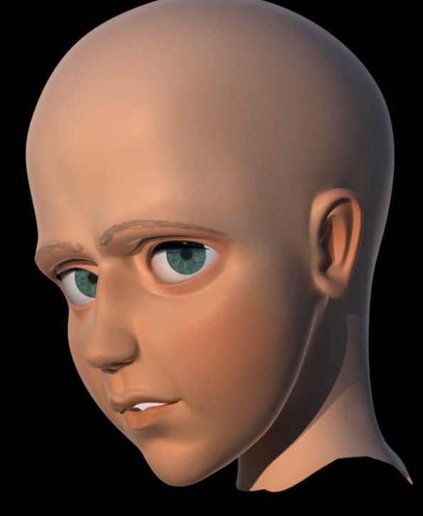 This is one of the render tests that was done for the face of the boy.
