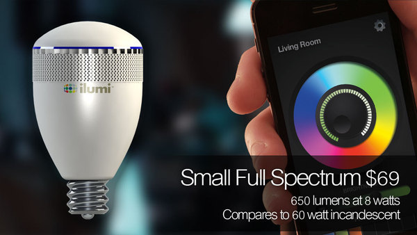 Small Full Spectrum iLumi produces variations in white light and rich colors