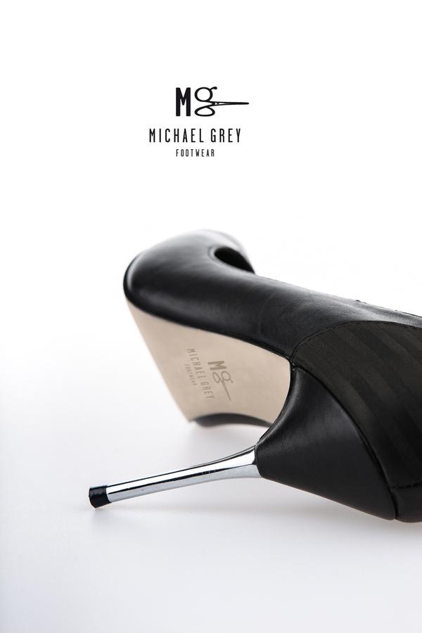 Genuine leather pumps, leaser etched detailing, metal heel