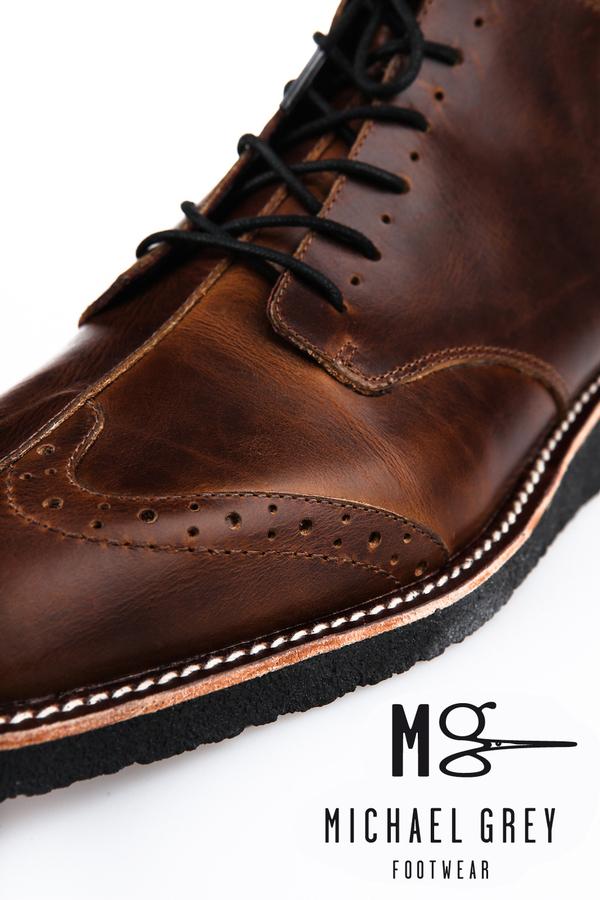 Genuine leather boots, half wingtip, welt/ laser etched details, on crepe sole