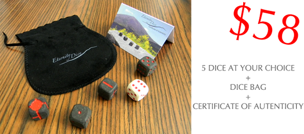$58 eternity Dice lava stone