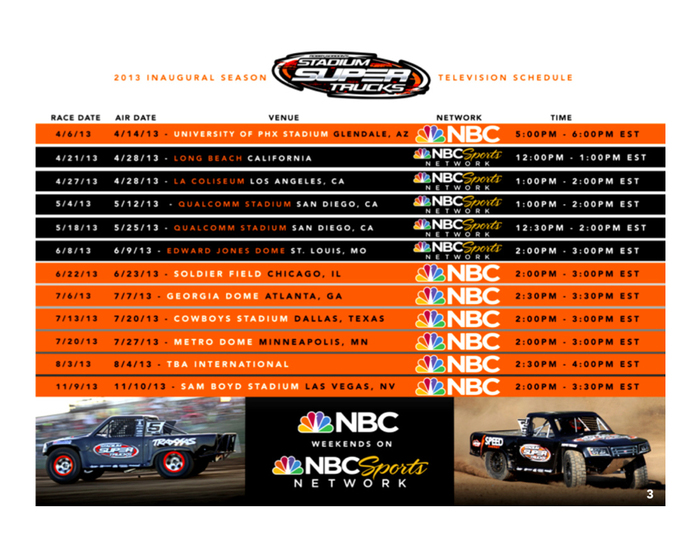 2013 Stadium Super Truck Schedule