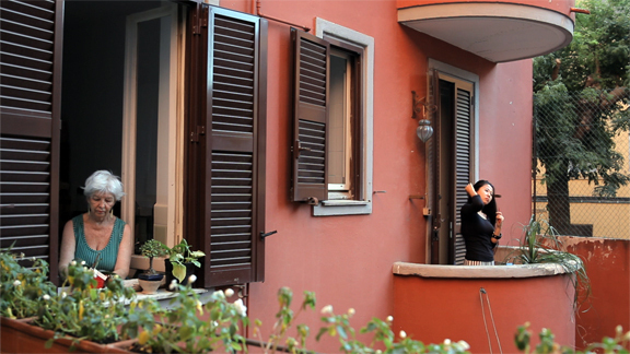 Doris and Hong at their apartment in Rome