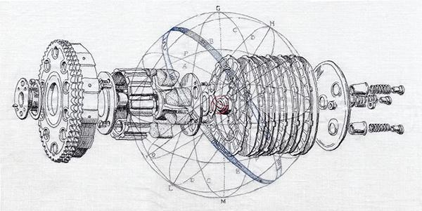 """thread on linen, 15"""" x 25"""", 2012"""