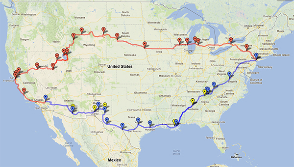 from Weehawken, NJ to Joshua tree, CA, and back