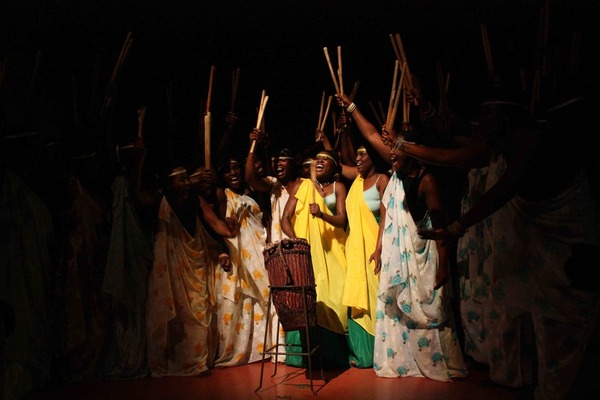 Final moment of a performance by Rwandan Women's Drumming troupe
