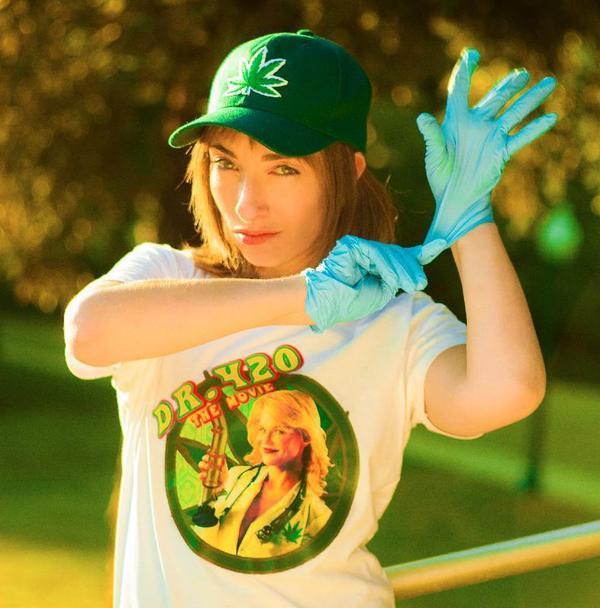 Naomi Grossman (aka Pepper in American Horror Story: Asylum) models Dr. 420 wear.