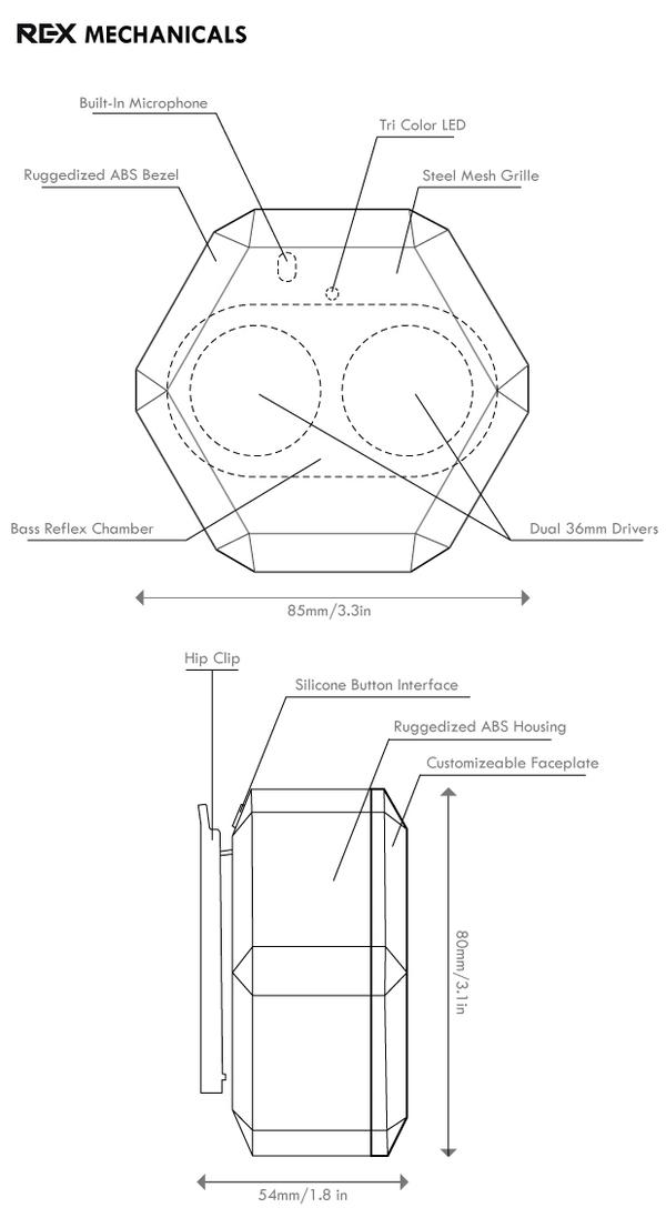 Boombot REX Mechanical Drawing