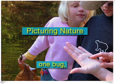 kids examining a lady bug near a lake