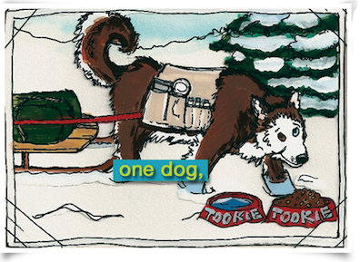 cartoon drawing of Tookie the sled dog