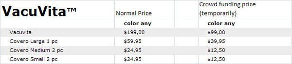 VacuVita Pricing Table 2013