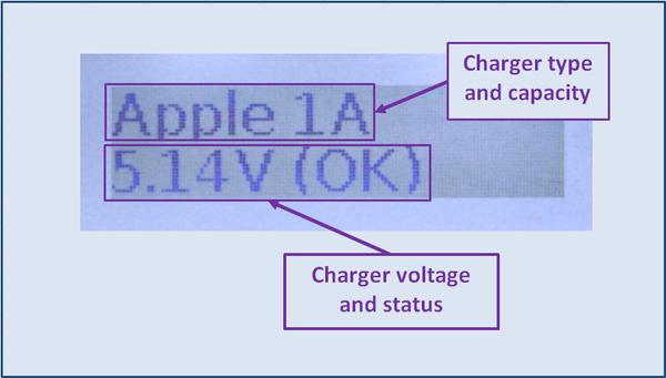 PortPilot Pro's charger identification screen