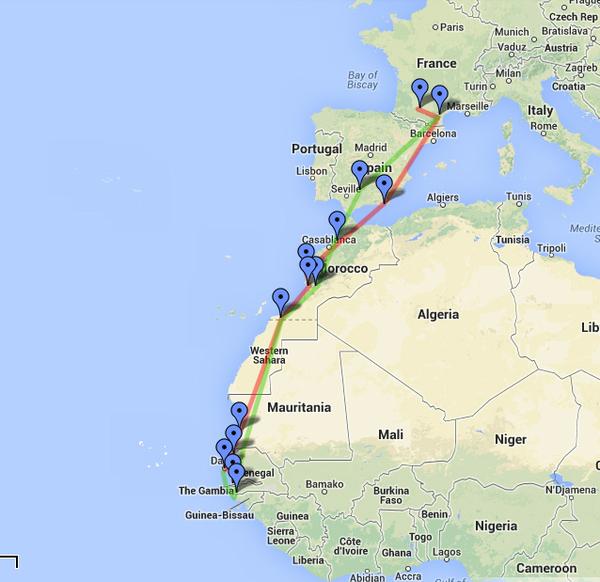 Aeropostale flight route