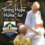 """Bring Hope Home"" for Base Camp text next to three bald cancer children."