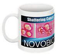 Custom Large Wrap-Around Coffee Mug with Novobiotronics Color Logo of Shattering Cancer Cells