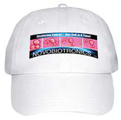 Custom All Cotton One Size Fits All Baseball Cap with Novobiotronics Color Logo of Shattering Cancer Cells!