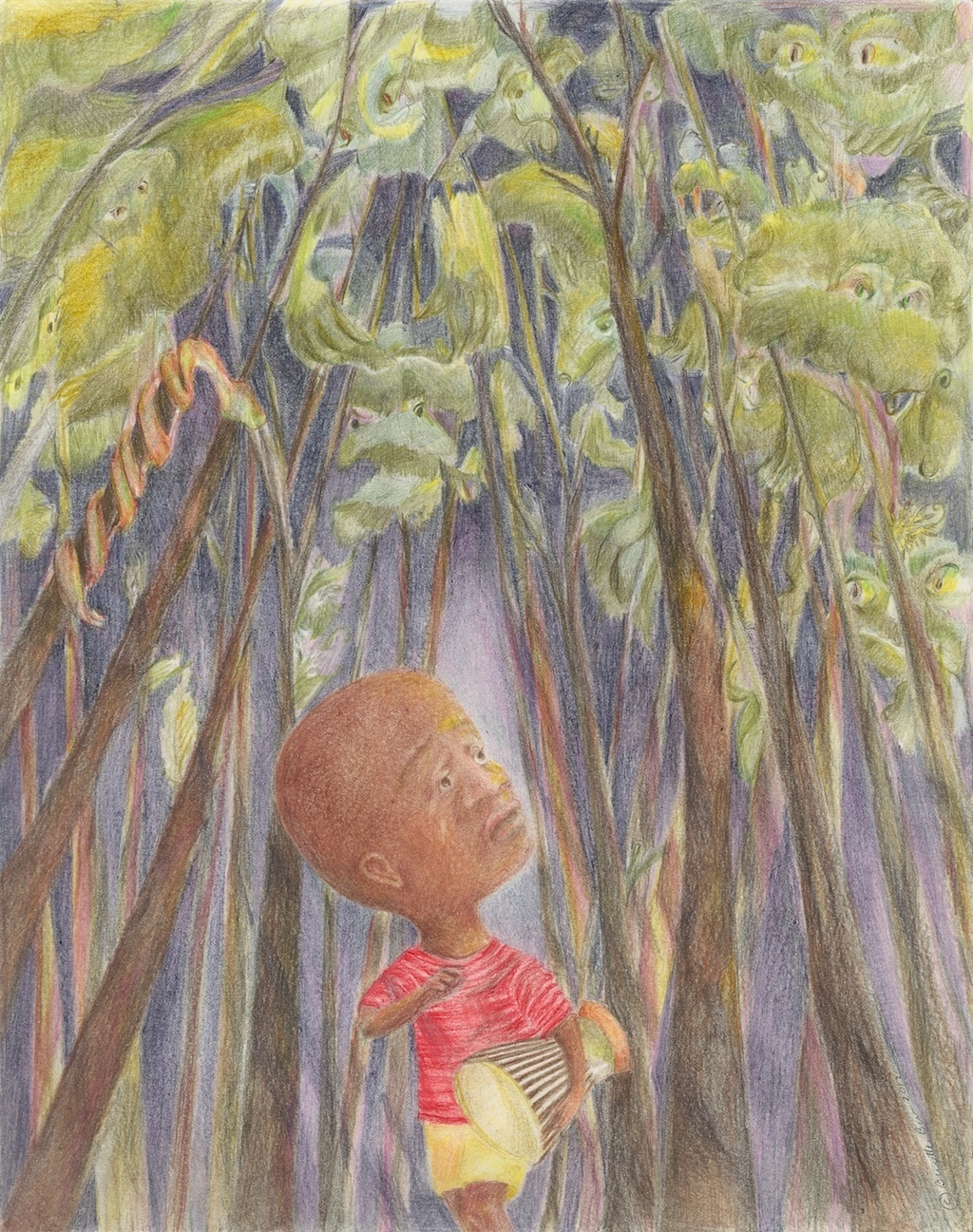 Okumu flees with the drum into the forest