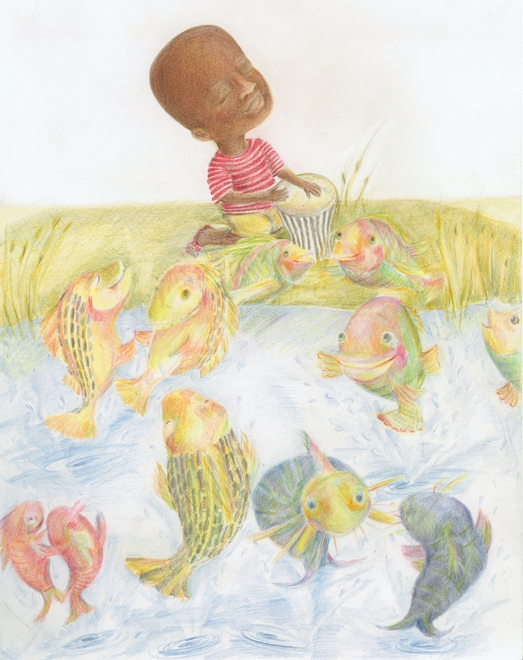 Okumu is delighted when the fish start dancing