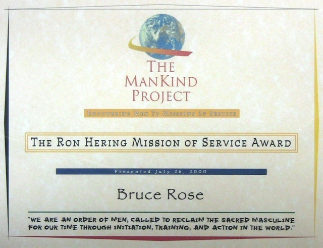 ManKind Project Ron Hering Mission of Service Award presented to Bruce Rose